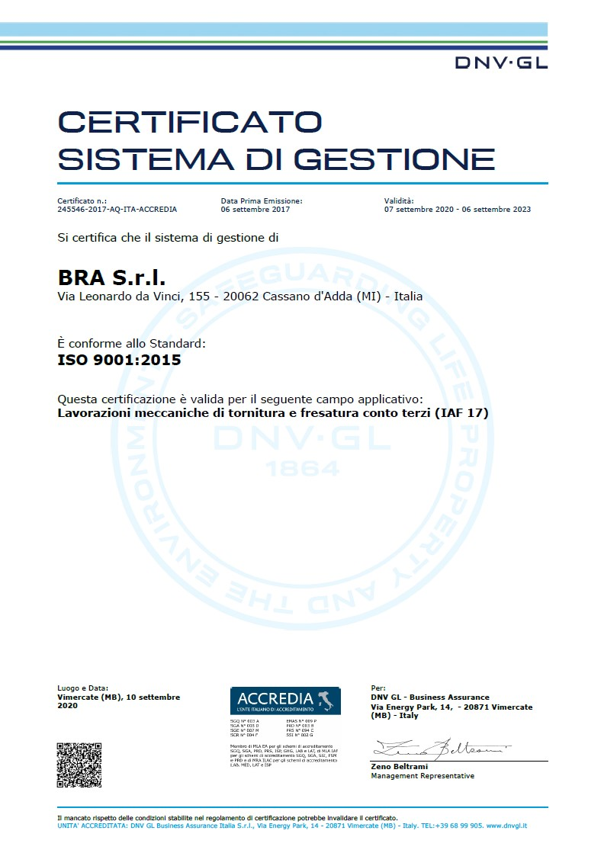 Bra Srl | Certificazione